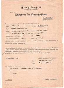 26 RECHT HISTORISCH Fragebogen der Reichsstelle für Sippenforschung